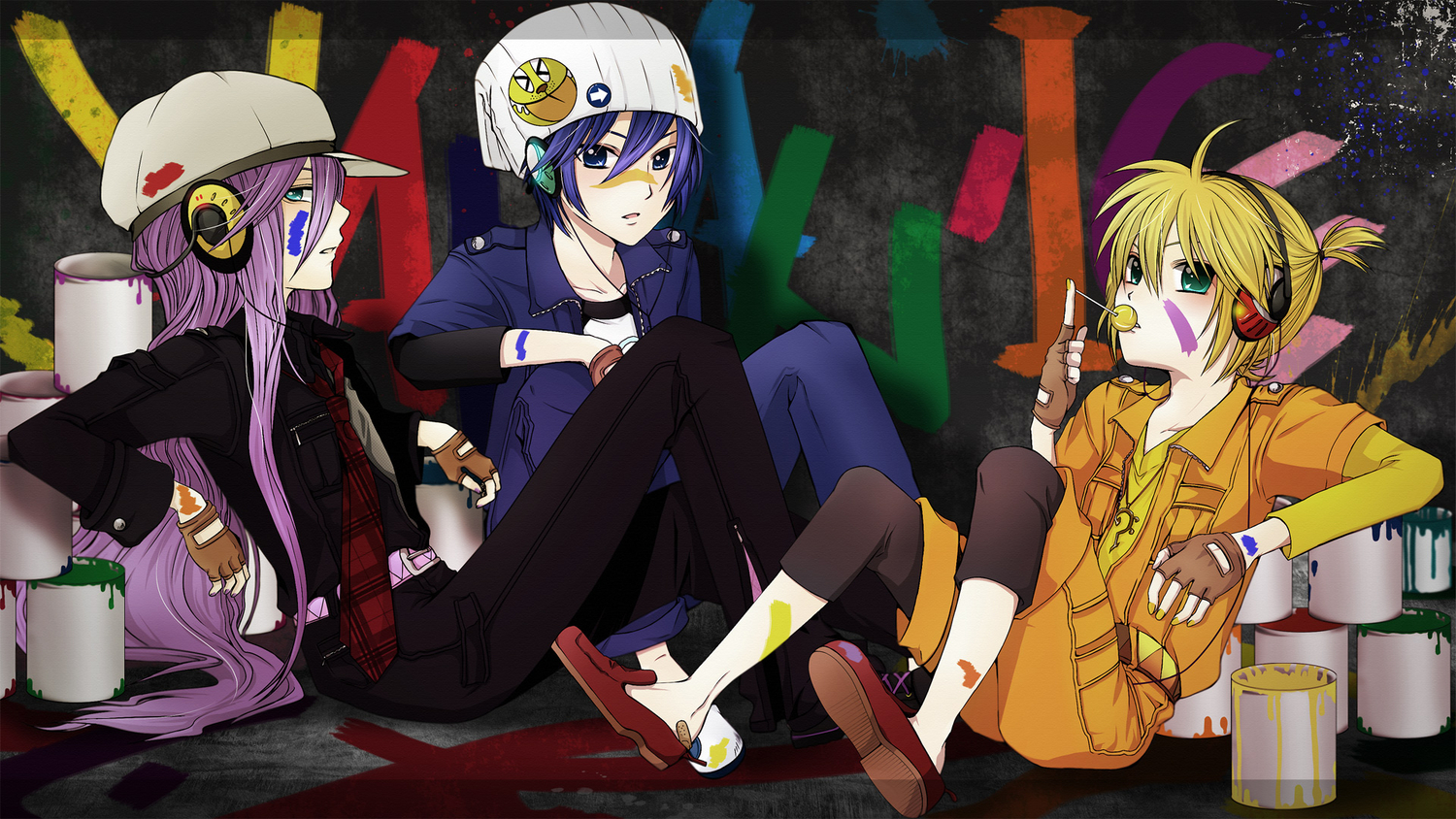 agi_(holic2007) aqua_eyes blonde_hair blue_eyes blue_hair candy food gloves hat headphones kagamine_len kaito kamui_gakupo lollipop long_hair ponytail purple_hair short_hair tie vocaloid
