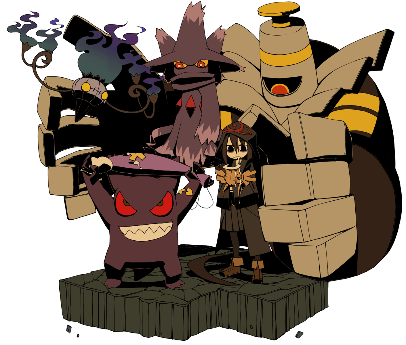 black_eyes brown_hair chandelure drifloon dusknoir fire gengar mismagius pokemon red_eyes shedinja yaza yellow_eyes