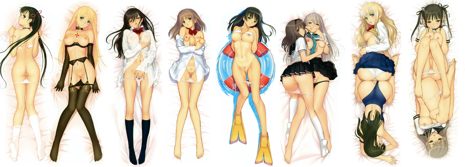 breast_grab breasts garter_belt masturbation navel nipples nude open_shirt original see_through seifuku socks stockings taka_tony tribadism uncensored vagina white yuri