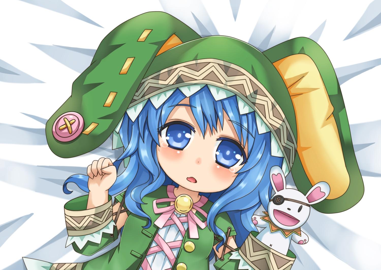 Blue Eyes Blue Hair Blush Bunny Chibi Date A Live Doll Eyepatch