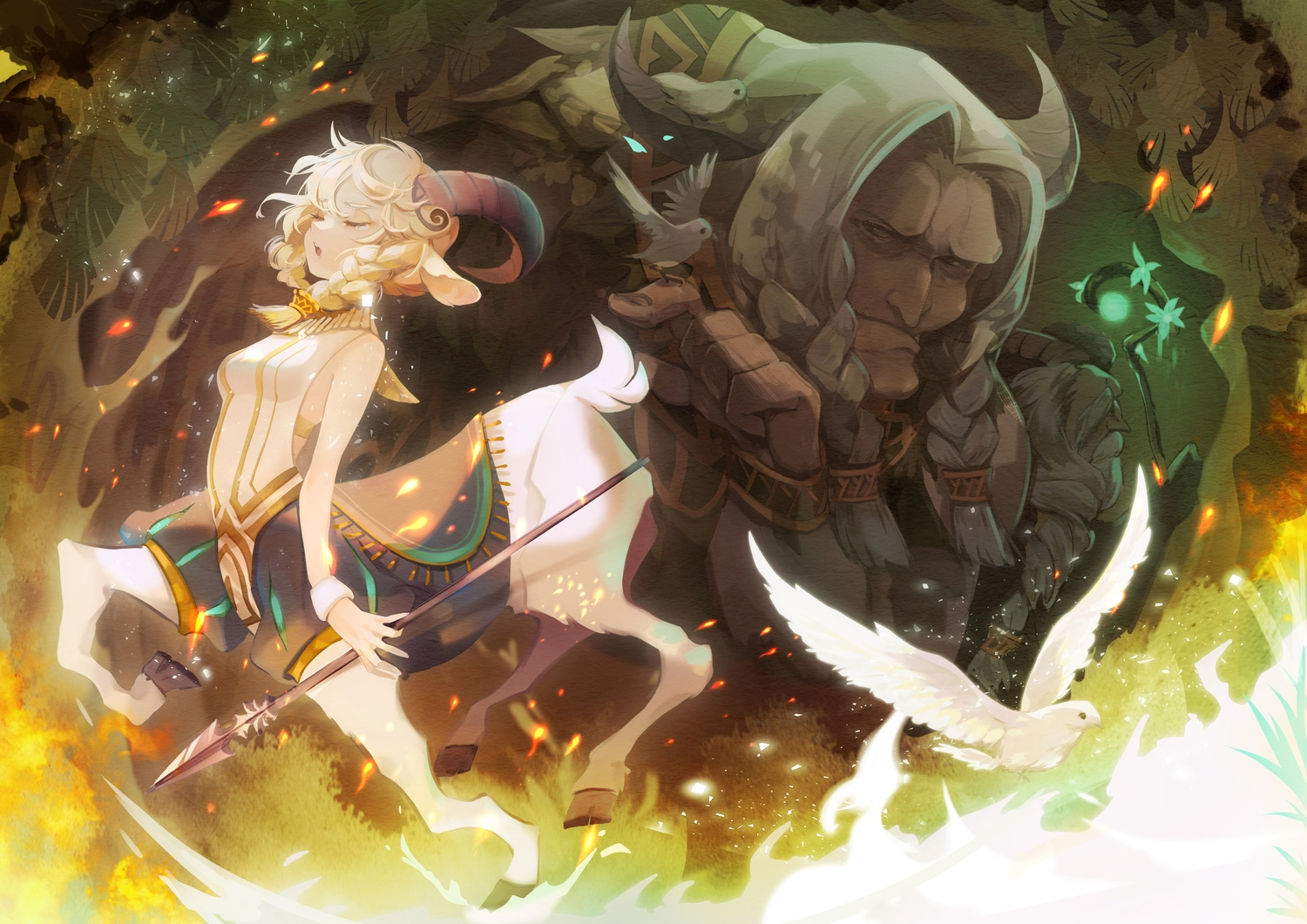 afk_arena animal animal_ears bird blonde_hair dollyly21 horns male nemora_(afk_arena) spear tagme_(character) tears weapon white_hair