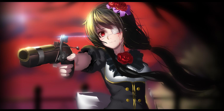 blood date_a_live eyepatch flowers gun hk_(zxd0554) jpeg_artifacts long_hair red_eyes rose tokisaki_kurumi twintails weapon