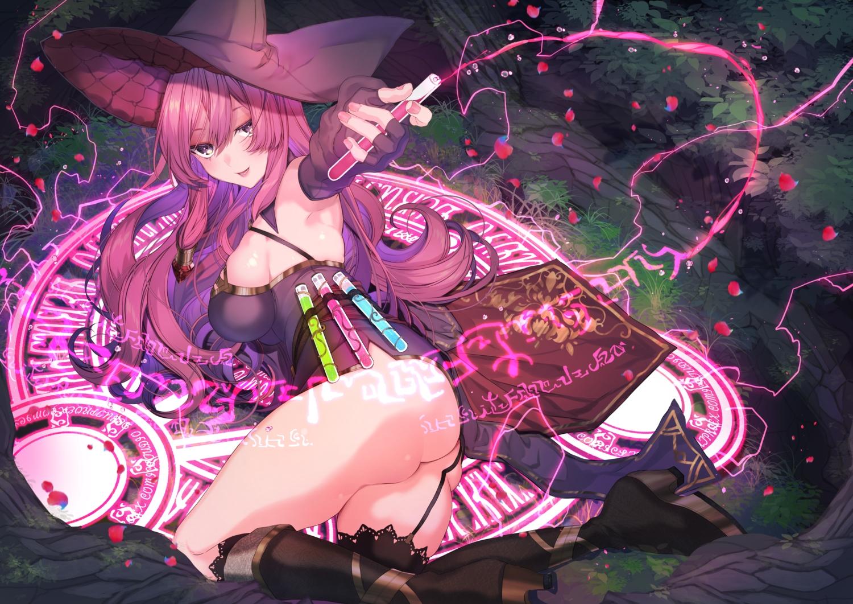 ass boots breasts dress forest garter_belt girusyu1945 grass hat long_hair magic original pink_hair purple_eyes tree witch witch_hat