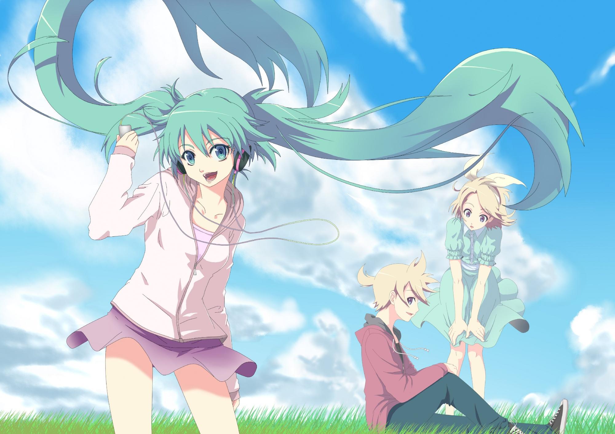 aqua_eyes aqua_hair blonde_hair clouds grass green_hair hatsune_miku headphones hoodie kagamine_len kagamine_rin long_hair male short_hair sky twintails vocaloid yooguru