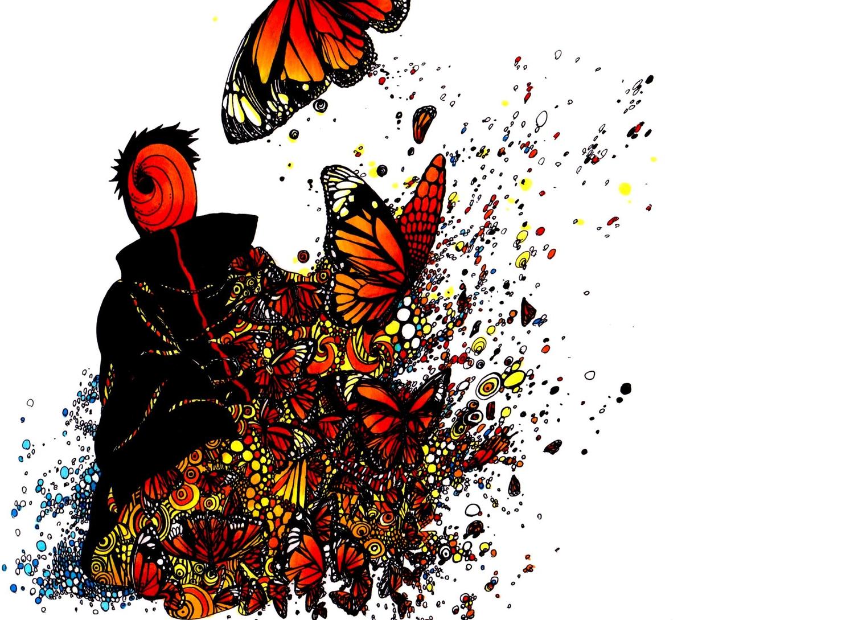 all_male black_hair butterfly male mask naruto naruto_shippuden onyaskr uchiha_obito white
