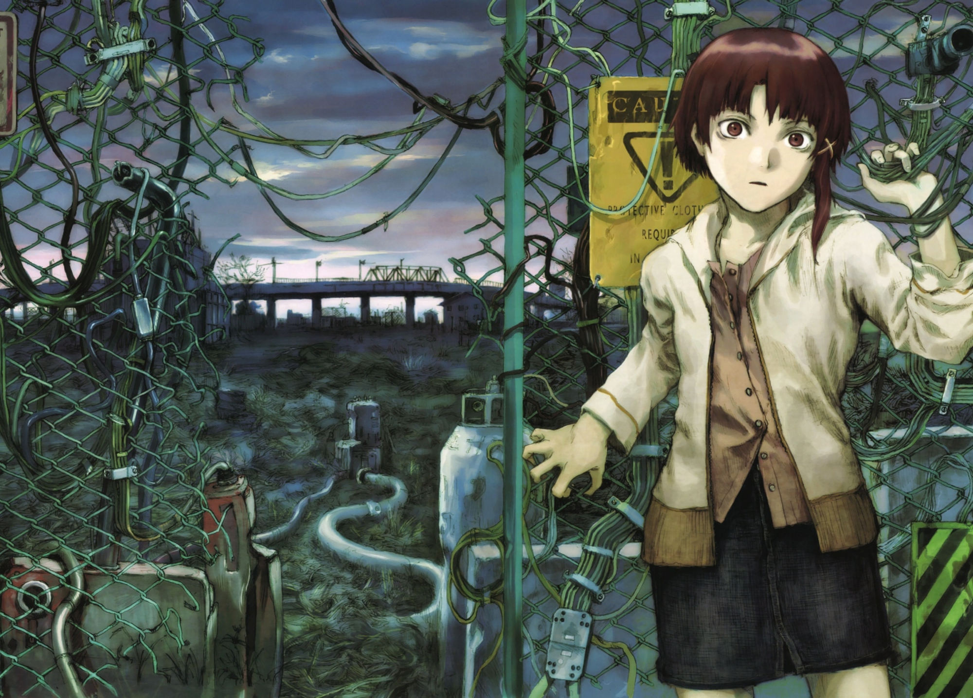 Abe yoshitoshi brown eyes brown hair iwakura lain serial experiments lain s