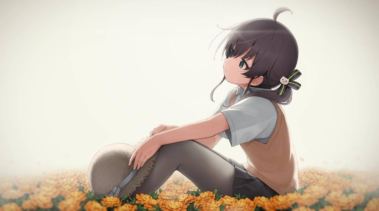 black_hair flowers green_eyes hat hololive long_hair natsuiro_matsuri pantyhose school_uniform seramikku skirt twintails