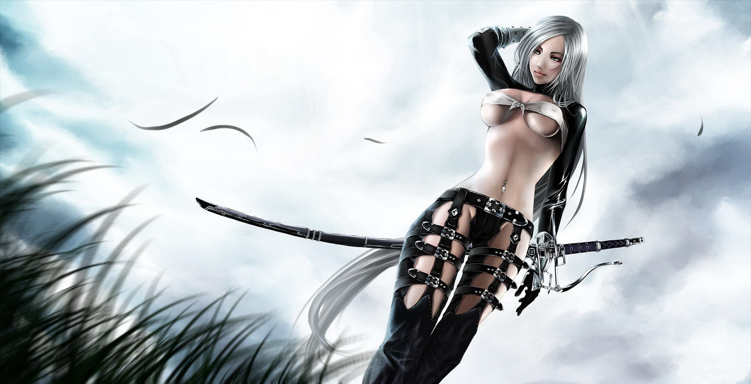 jpeg_artifacts photoshop sword underboob weapon white_hair