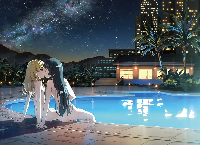 2girls black hair blonde hair building city imouto sae