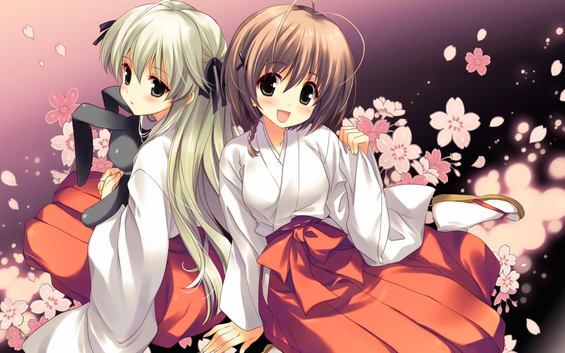 2girls amatsume_akira flowers japanese_clothes kasugano_sora miko sakura_koharu yosuga_no_sora