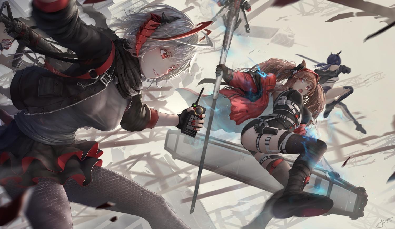 angelina_(arknights) animal_ears arknights ch'en_(arknights) gloves horns jay_xu red_eyes short_hair skirt sword twintails w_(arknights) weapon