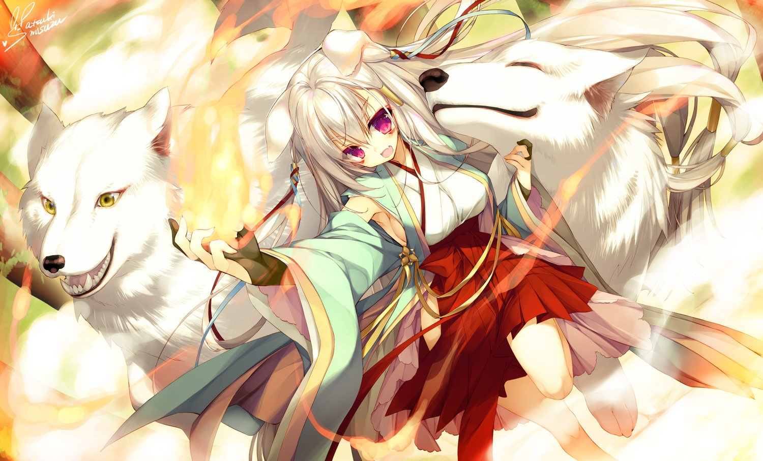 animal animal_ears breasts dog doggirl fang fire japanese_clothes long_hair magic miko original purple_eyes satsuki_misuzu sideboob signed white_hair