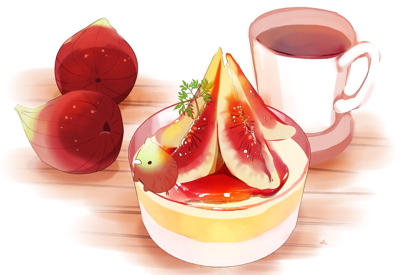 animal bird chai_(artist) drink food fruit original polychromatic signed