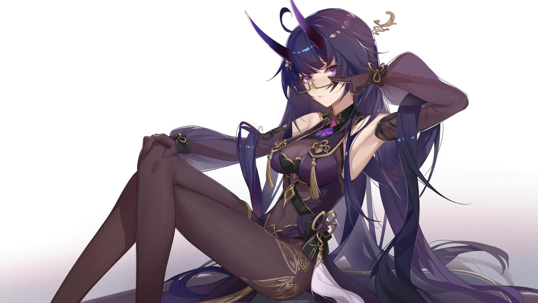 glasses gloves honkai_impact horns long_hair purple_eyes raiden_mei xianyu_liang