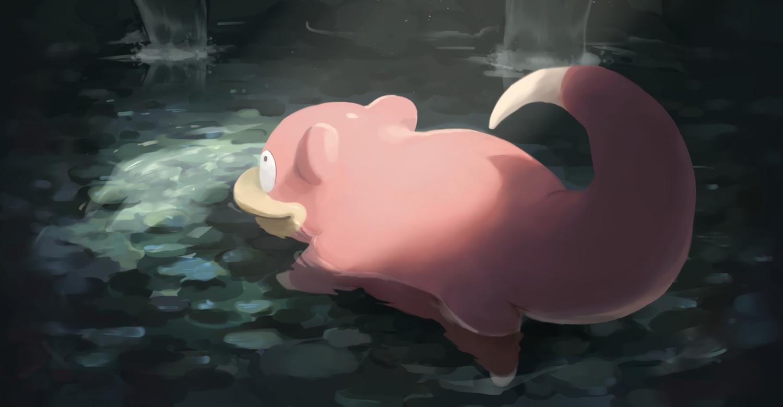 na_(oagenosuke) nobody pokemon shade slowpoke water waterfall