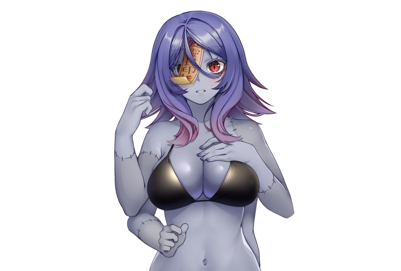 bikini_top blue_hair breast_hold breasts cleavage navel ofuda original paravene red_eyes scar short_hair third-party_edit white