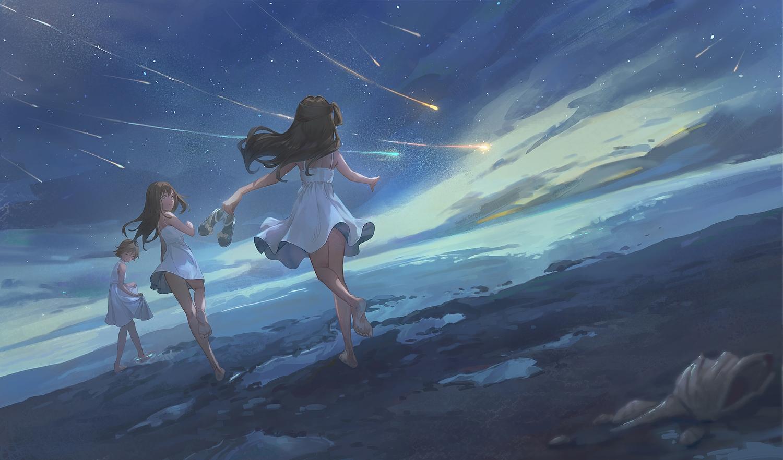 clouds dress gawain_(artist) honda_mio idolmaster idolmaster_cinderella_girls long_hair shibuya_rin shimamura_uzuki short_hair sky stars wink