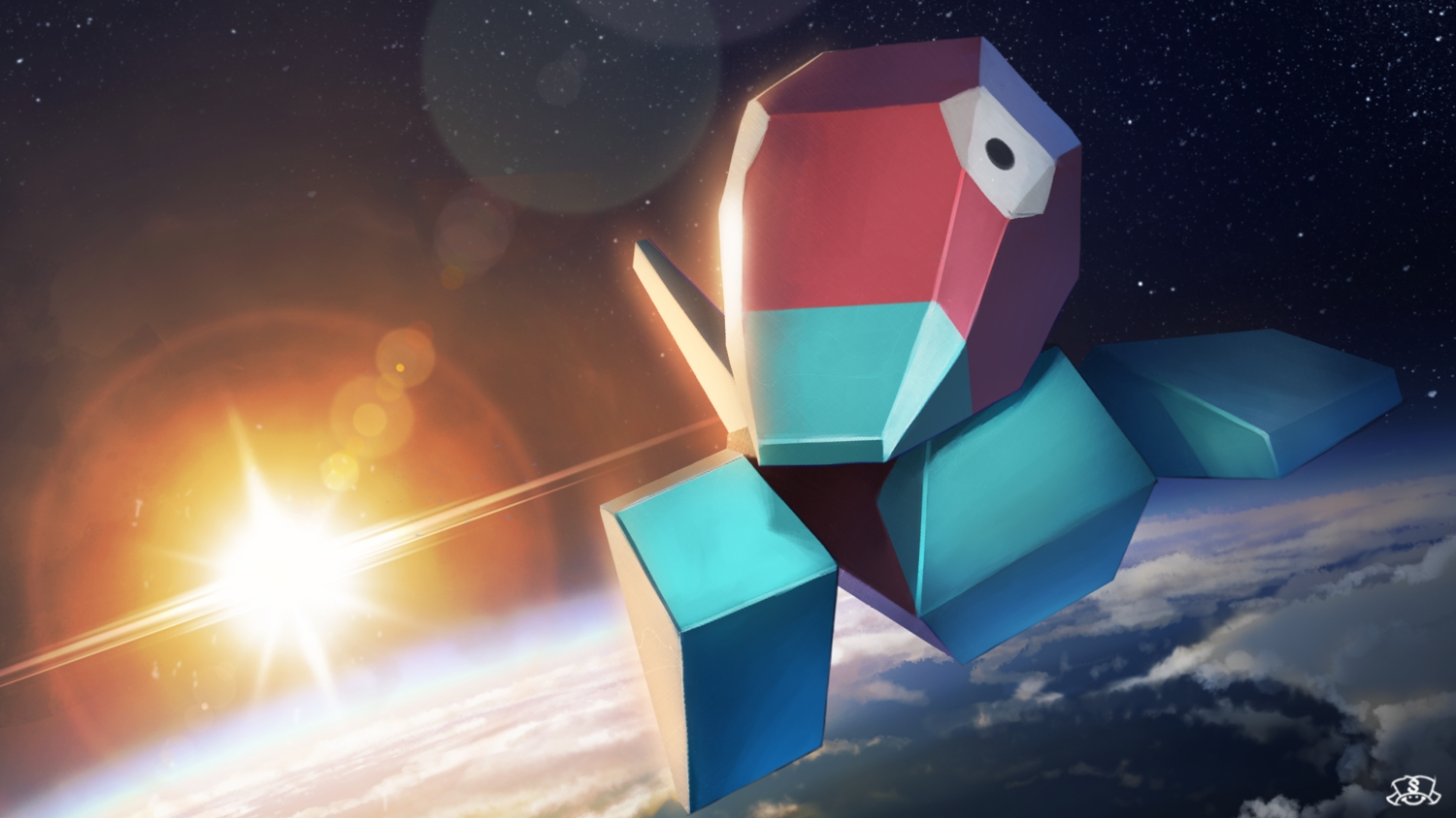 close clouds earth nobody planet pokemon porygon space spareribs stars watermark