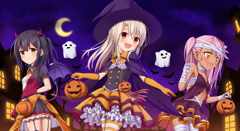 chloe_von_einzbern fate/kaleid_liner_prisma_illya fate_(series) halloween illyasviel_von_einzbern loli miyu_edelfelt moon morokoshi_(tekku)