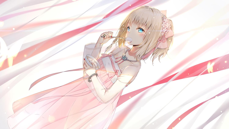 anthropomorphism aqua_eyes azur_lane blonde_hair bow braids dress flowers food maya_g necklace ponytail richmond_(azur_lane) short_hair summer_dress