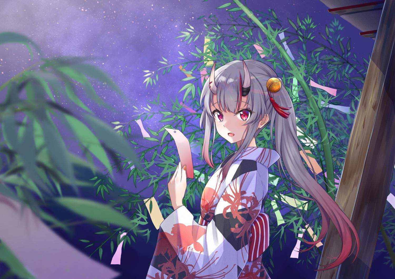 bell demon gray_hair hololive horns japanese_clothes long_hair nakiri_ayame night ponytail red_eyes rgrey00 sky stars yukata