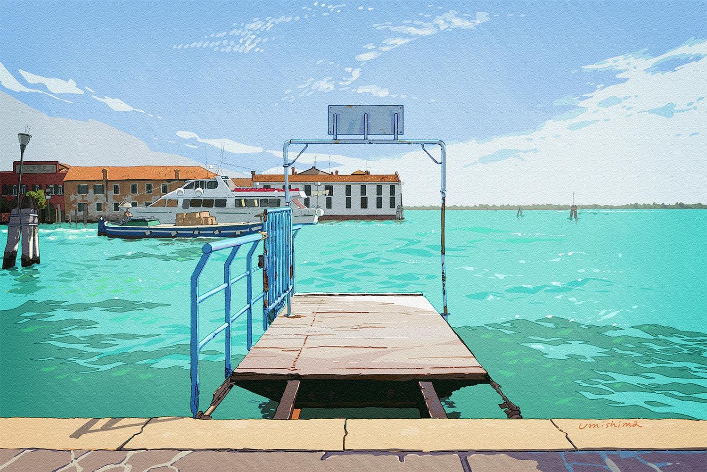 boat original scenic signed sky umishima_senbon water