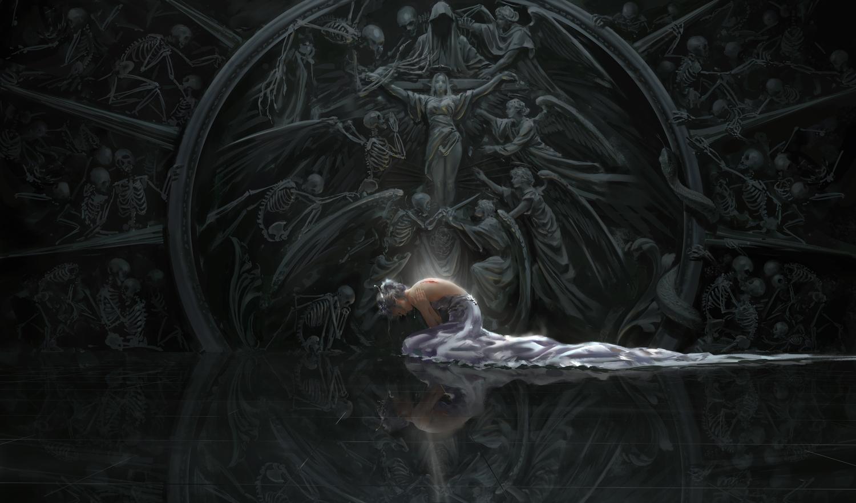 bones dress ghostblade gray_hair pointed_ears princess_yan reflection short_hair skull tiara wlop