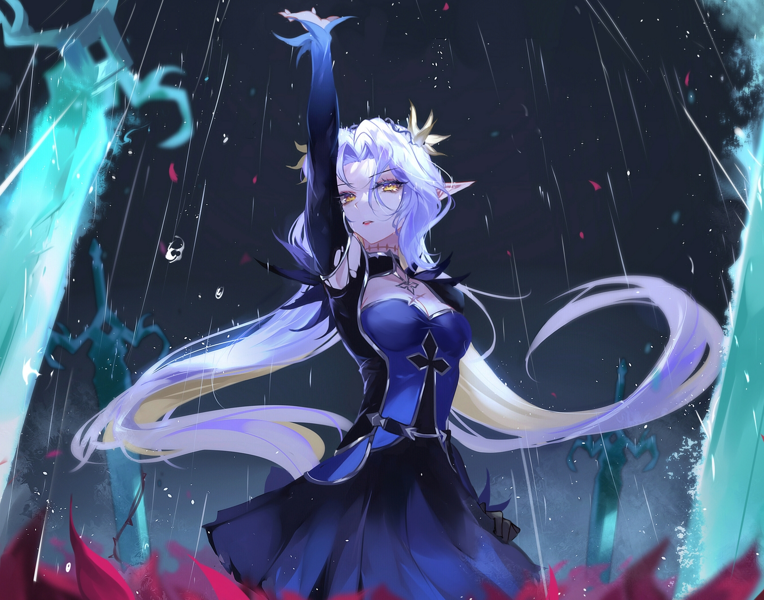 breasts briar_witch_iseria_(epic7) cleavage epic7 long_hair pointed_ears rain sword vardan water weapon