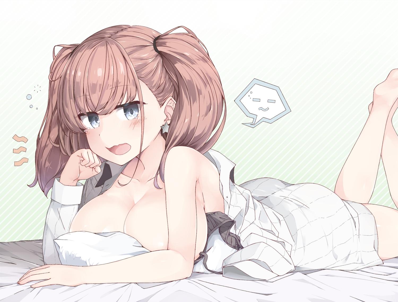 anthropomorphism ass atlanta_(kancolle) blue_eyes blush bra breasts brown_hair kantai_collection no_bra twintails underwear yui_(seiga)