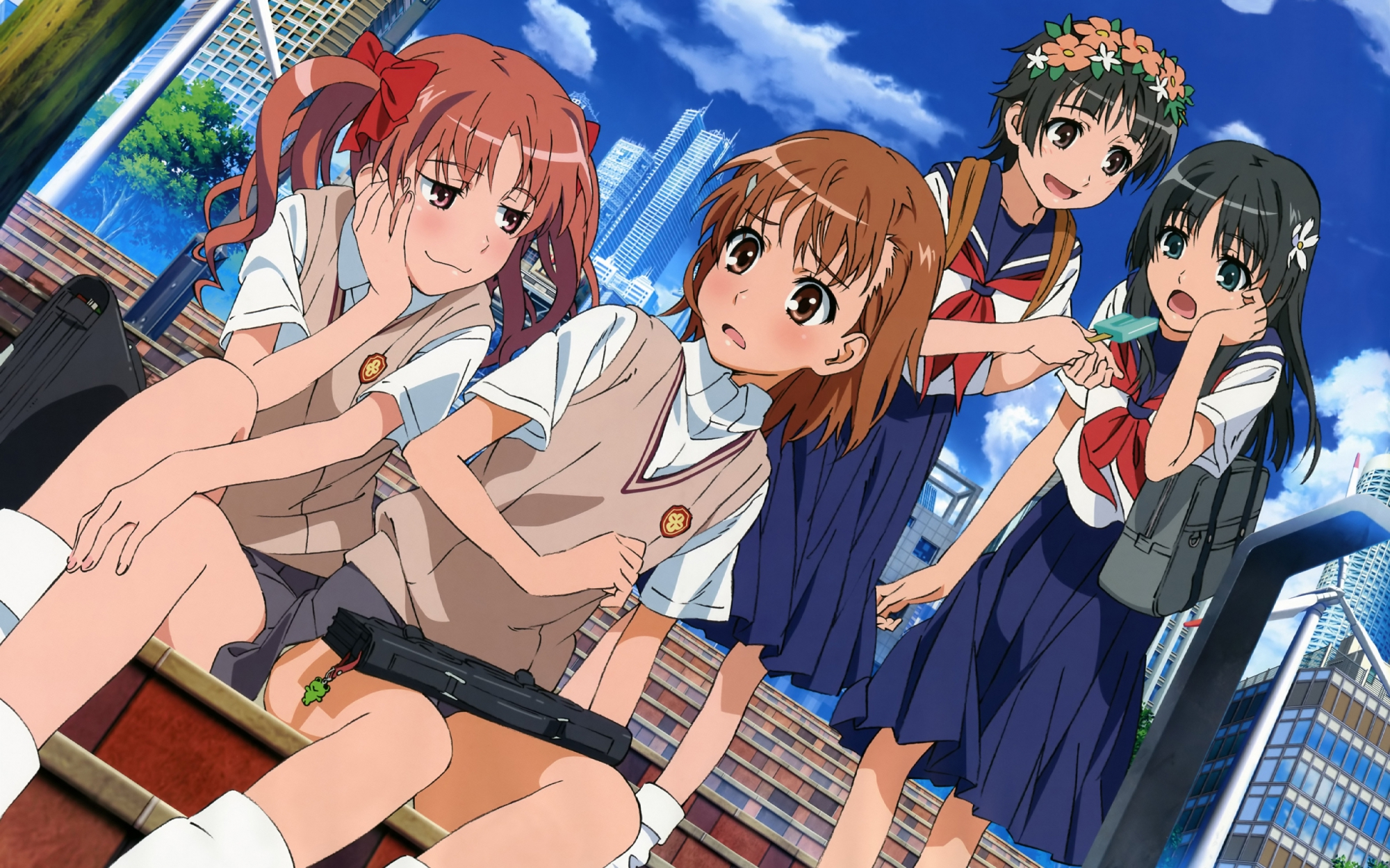 black_hair blush bow brown_eyes brown_hair building city clouds food green_eyes headdress ice_cream kiyoshi_tateshi kneehighs long_hair misaka_mikoto pink_eyes saten_ruiko school_uniform shirai_kuroko short_hair skirt socks stairs to_aru_kagaku_no_railgun to_aru_majutsu_no_index twintails uiharu_kazari windmill