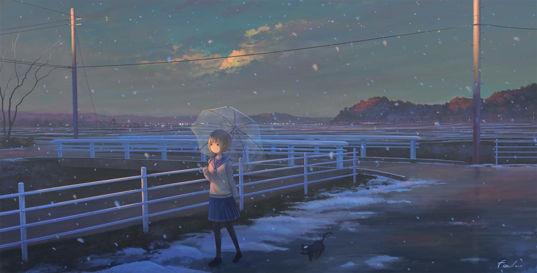 animal brown_hair cat clouds feel_(nasitaki) original pantyhose purple_eyes scenic seifuku short_hair signed skirt sky snow umbrella winter