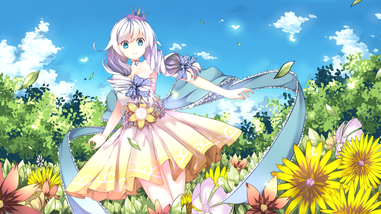 aqua_eyes clouds crown dress flowers honkai_impact kiana_kaslana ribbons sky tagme_(artist) twintails white_hair