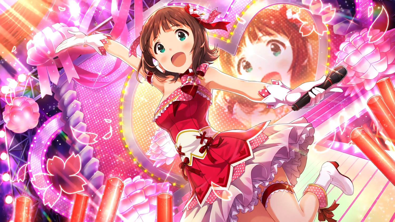 amami_haruka boots brown_hair dress garter gloves green_eyes idolmaster idolmaster_million_live! microphone short_hair tagme_(artist)