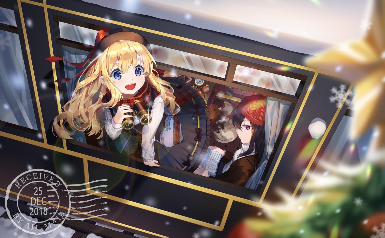 2girls animal black_hair blonde_hair blue_eyes bow cat christmas dress hat hatachi8p long_hair original purple_eyes scarf train
