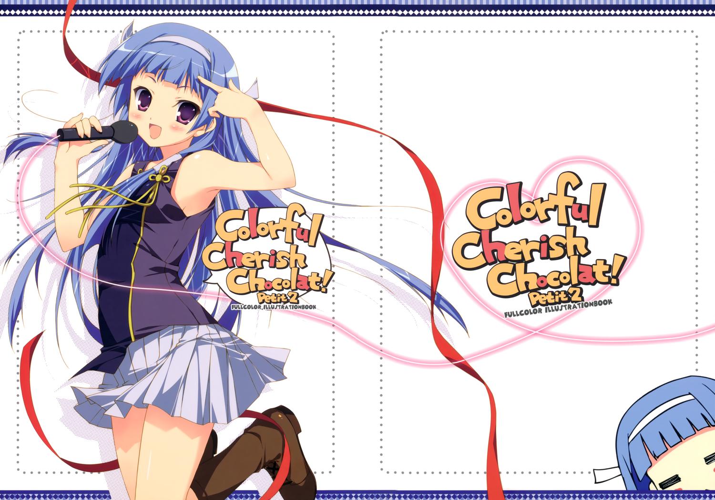 blue_hair chikotam kannagi_crazy_shrine_maidens long_hair microphone nagi