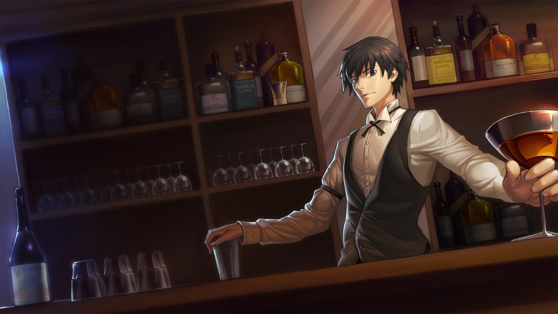 all_male black_hair blue_eyes dark darker_than_black drink hei male short_hair suit wentirtongmo