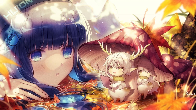 autumn blue_hair blush horns huion leaves long_hair original pointed_ears rinko_(mg54)