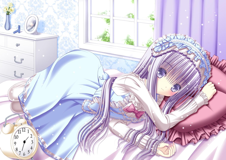 bed headdress lolita_fashion long_hair original purple_eyes purple_hair tagme_(artist)