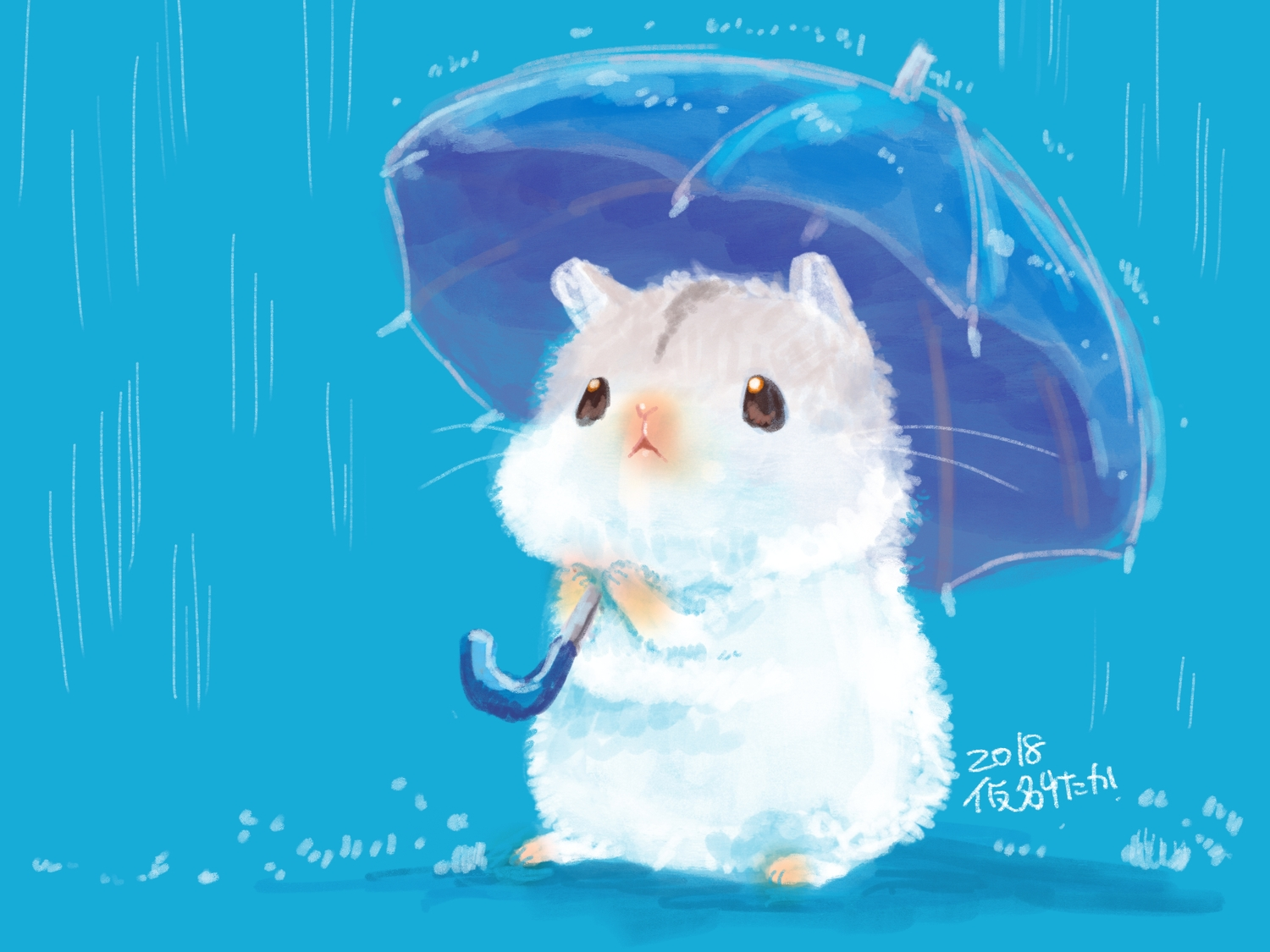 animal blue nobody original rain umbrella water yutaka_kana
