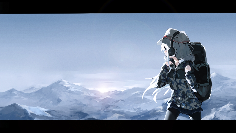 anthropomorphism earmuffs hat hibiki_(kancolle) kantai_collection landscape long_hair military pantyhose scenic skirt sky verniy_(kancolle) white_hair yamano_(yamanoh)