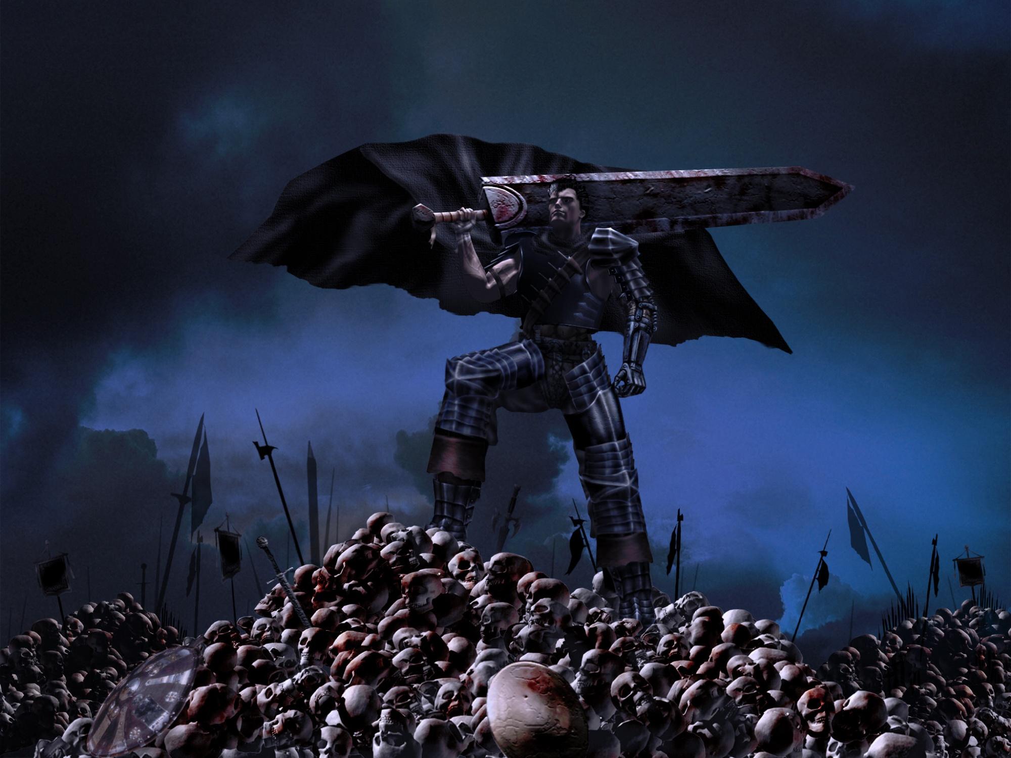 3d all_male armor berserk black_hair clouds cosplay guts knife male short_hair skull sky sword weapon
