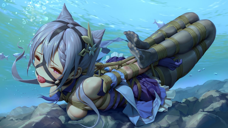 bondage genshin_impact keqing_(genshin_impact) nipples pantyhose purple_hair rope see_through tokinohimitsu twintails underwater water