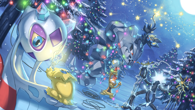 christmas forest froslass group joltik luxray moon night pokemon scrafty scraggy snow spareribs stars steelix tree xurkitree