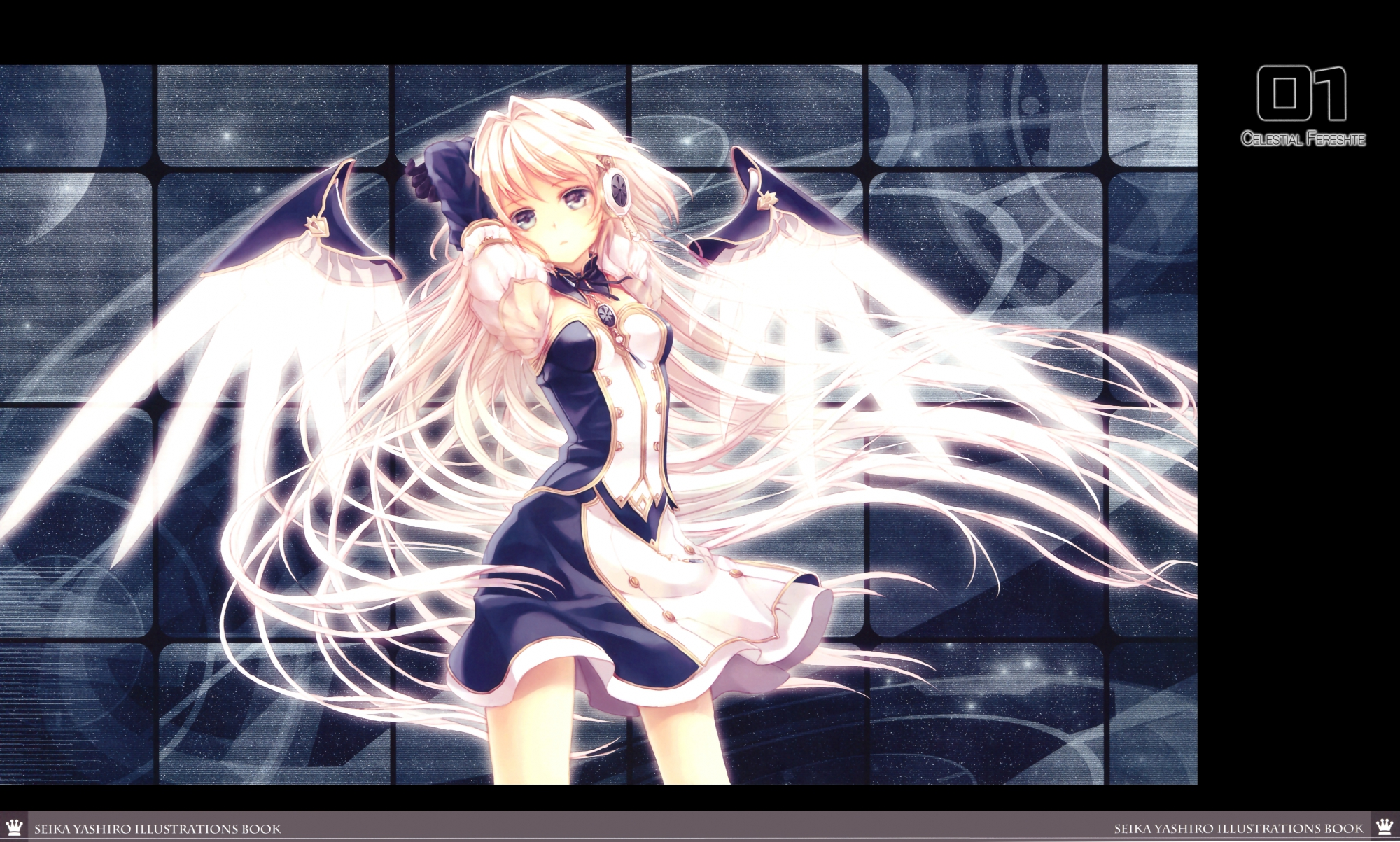 angel blonde_hair blue_eyes dress headphones long_hair original wings yashiro_seika