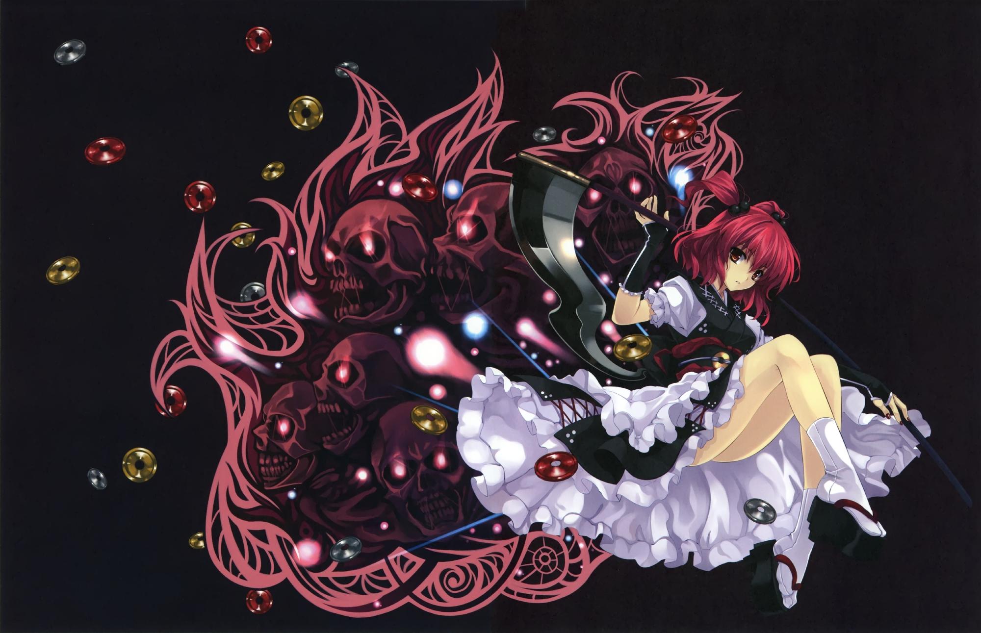 cradle misaki_kurehito onozuka_komachi red_eyes red_hair scythe short_hair touhou twintails weapon
