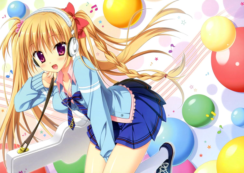 headphones hontani_kanae long_hair orange_hair original purple_eyes skirt twintails