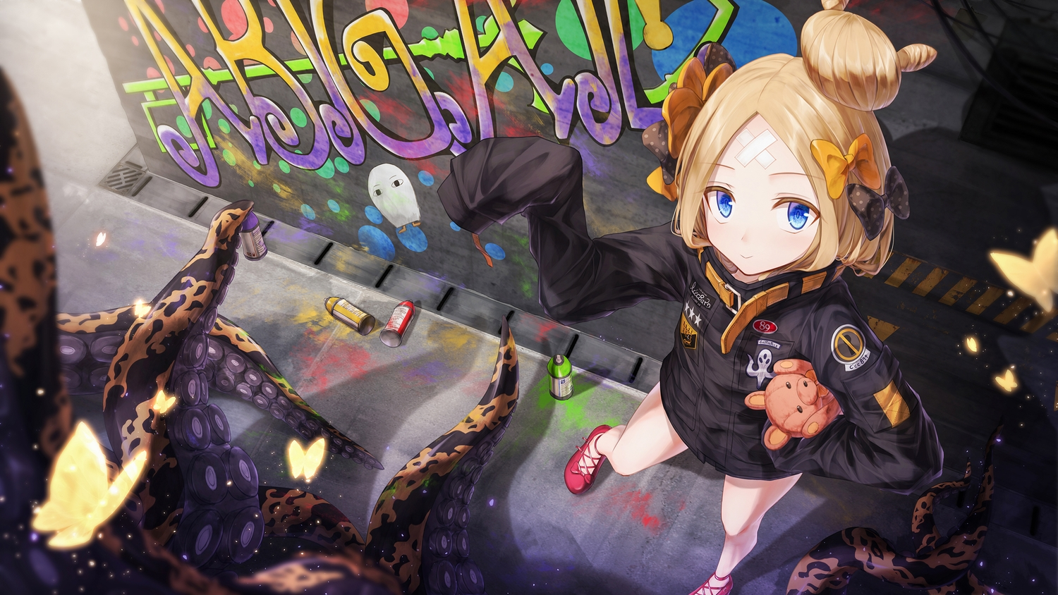 abigail_williams_(fate/grand_order) animal blonde_hair blue_eyes bow boyogo butterfly fate/grand_order fate_(series) graffiti loli teddy_bear tentacles