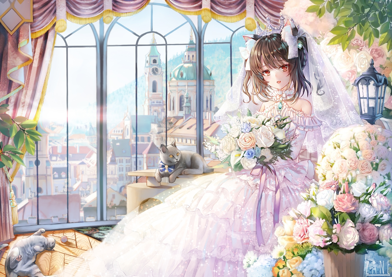 animal animal_ears brown_hair building cat catgirl city crown fang flowers headdress original red_eyes rose short_hair sxbzero twintails wedding_attire