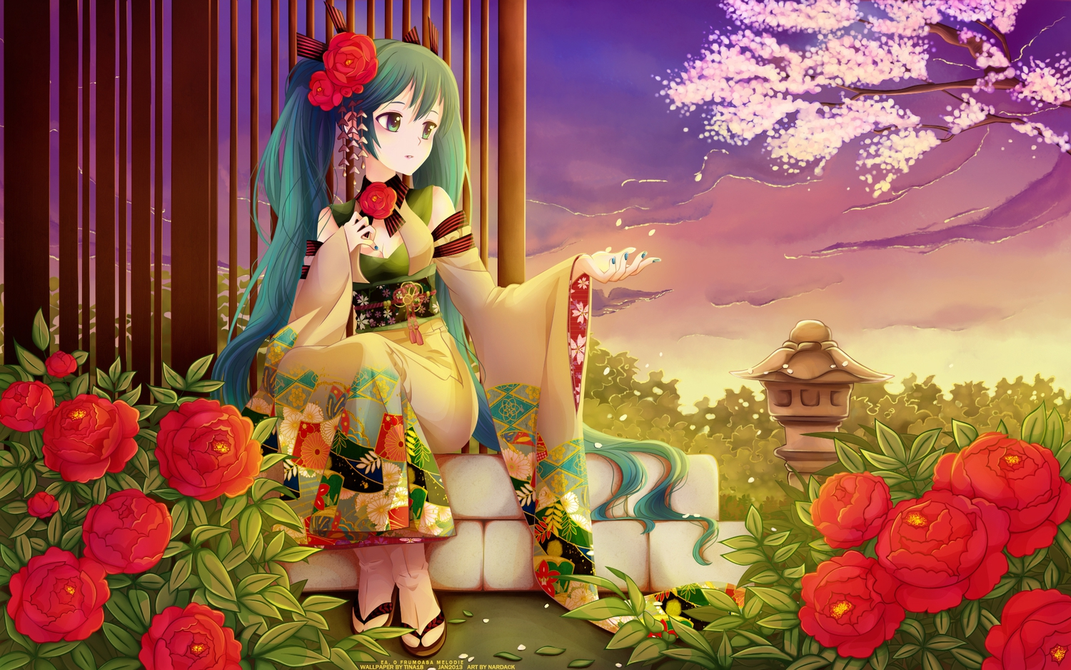aqua_eyes aqua_hair breasts cherry_blossoms cleavage clouds flowers hatsune_miku japanese_clothes leaves nardack rose sky sunset tree twintails vocaloid watermark yukata
