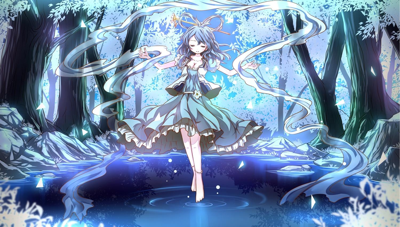 barefoot black_hair blue breasts cleavage dress forest kaku_seiga night risutaru touhou tree water